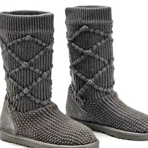 UGG classic argyle taupe knit boots 5879 size 7M